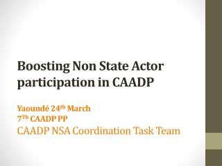 Boosting Non State Actor participation in CAADP   Yaound  24th March 7Th CAADP PP  CAADP NSA Coordination Task Team