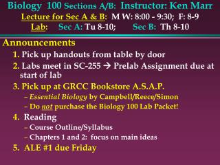 Biology  100 Sections A