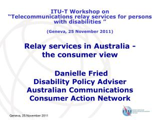 Relay services in Australia -  the consumer view