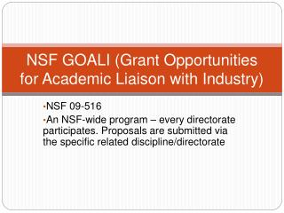 NSF GOALI Grant Opportunities for Academic Liaison with Industry