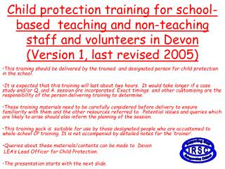 Child protection training for school-based  teaching and non-teaching staff and volunteers in Devon  Version 1, last rev