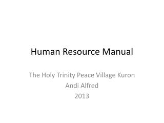 Human Resource Manual