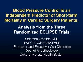 Blood Pressure Control is an Independent Predictor of Short-term Mortality in Cardiac Surgery Patients: