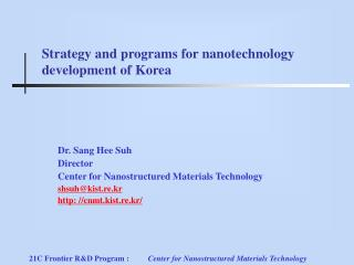Strategy and programs for nanotechnology development of Korea