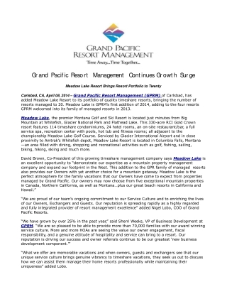 Grand Pacific Resort Management Continues Growth Surge