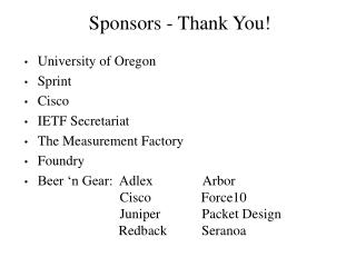 Sponsors - Thank You
