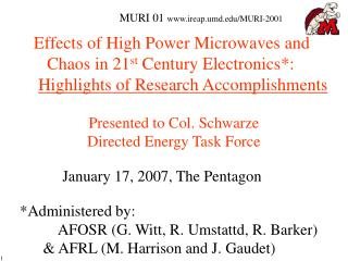 Effects of High Power Microwaves and           Chaos in 21st Century Electronics:       Highlights of Research Accomplis