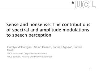 Speech Perception