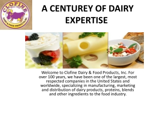 A CENTUREY OF DAIRY EXPERTISE