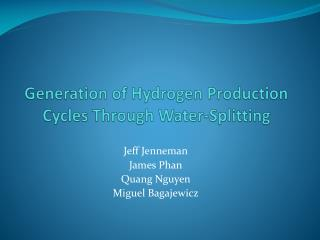 Generation of Hydrogen Production Cycles Through Water-Splitting