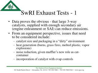 SwRI Exhaust Tests - 1