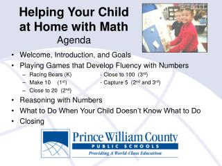 Helping Your Child  at Home with Math Agenda