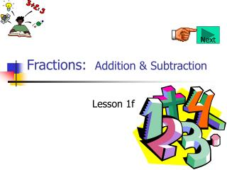 Fractions:  Addition  Subtraction
