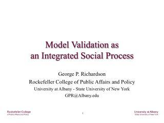 Model Validation as an Integrated Social Process
