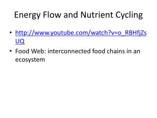 Energy Flow and Nutrient Cycling