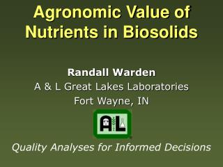 Agronomic Value of Nutrients in Biosolids