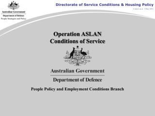 Operation ASLAN Conditions of Service