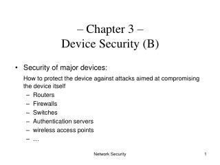 Chapter 3    Device Security B