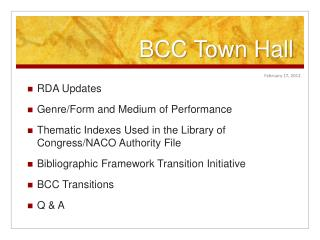 BCC Town Hall