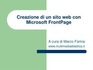 Creazione di un sito web con Microsoft FrontPage