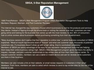 SBGA, 5-Star Reputation Management