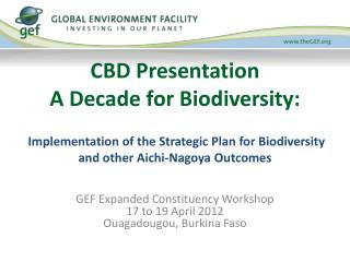 CBD Presentation A Decade for Biodiversity:   Implementation of the Strategic Plan for Biodiversity and other Aichi-Nago