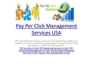 Pay Per Click Management Services USA