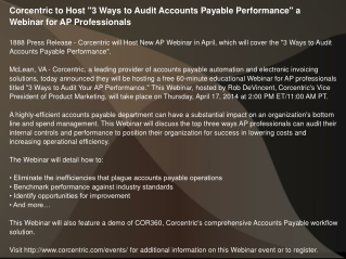 Corcentric to Host 3 Ways to Audit Accounts