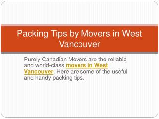 Top 5 Moving Tips by Movers in West Vancouver