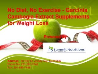 No Diet, No Exercise - Garcinia Cambogia Extract Supplements