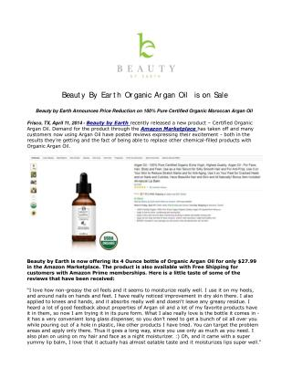 Beauty By Earth Organic Argan Oil is on Sale