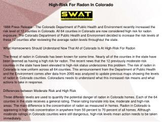 High-Risk For Radon In Colorado