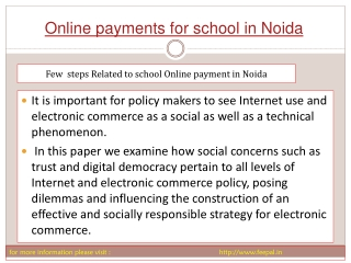 Online Payment for school in Noida is a new way making payme