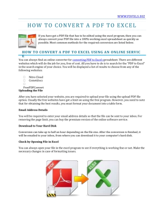HOW TO CONVERT A PDF TO EXCEL