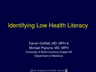 identifying low health literacy