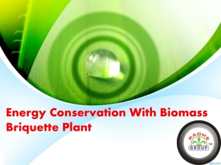 Energy Conservation With Biomass Briquette Plant