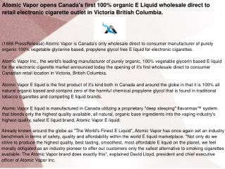 Atomic Vapor opens Canada's first 100% organic E Liquid