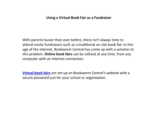 Using a Virtual Book Fair as a Fundraiser