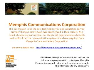 Audio Visual Rentals - Memphis Communications Corportation