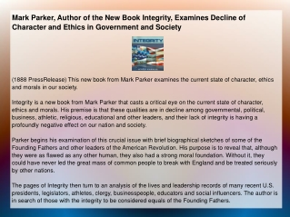 Mark Parker, Author of the New Book Integrity