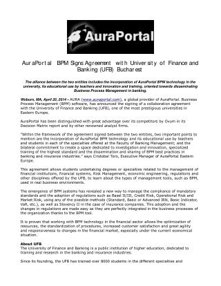 AuraPortal BPM Signs Agreement with University of Finance an
