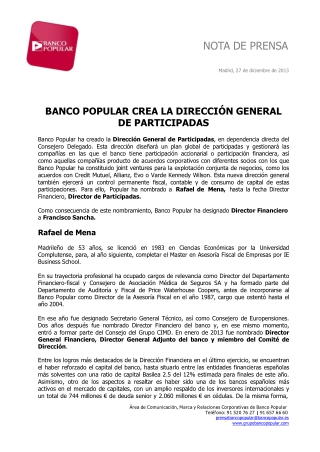 Ángel Ron y Banco Popular crean la dirección de participadas