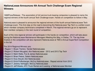 NationaLease Announces 4th Annual Tech Challenge Exam