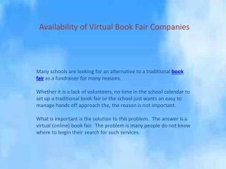 Availability of Virtual Book Fair Companies