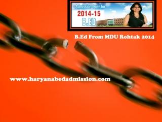 B.Ed from MDU Rohtak