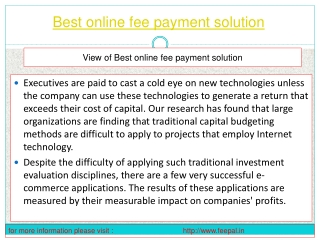 The best online fee payment soluution  is one which big hots