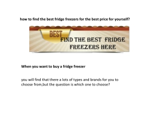 how to choose the best fridge freezer