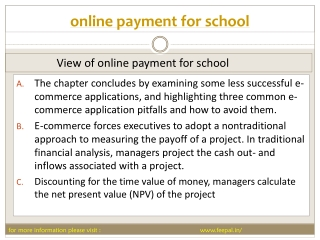 Payment Procedures and Options for school online payment