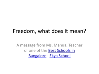 Freedom, what does it mean?