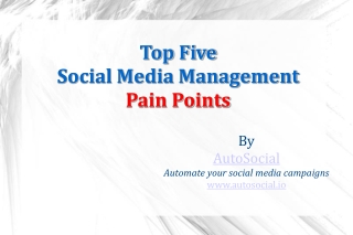 Top Five Social Media Management Pain Points